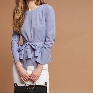 Anthropologie Maeve Ramona gingham ruffle blouse